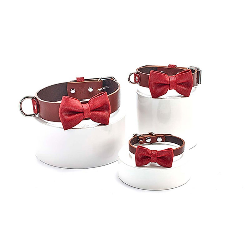 Brown dog collar with red bow tie Personalized leather dog collar with bow tie set for small medium /& large breeds custom dog collar