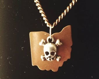 Ohio skull and crossbones necklace
