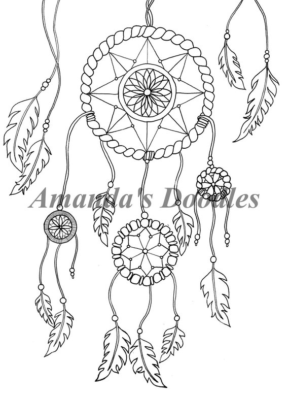 Dream Catcher Coloring Page Etsy