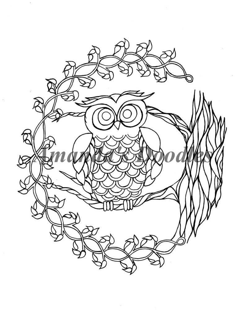 Owl In A Tree Coloring Page Etsy