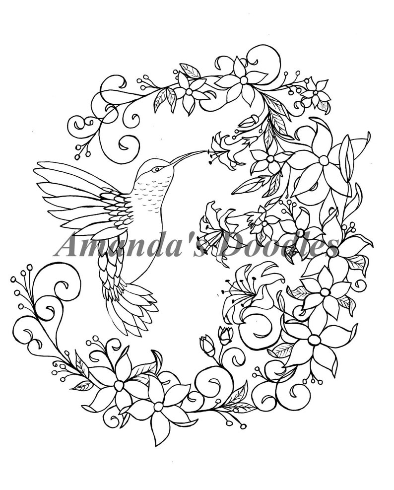 Hummingbird And Floral Flower Wreath Coloring Page Etsy