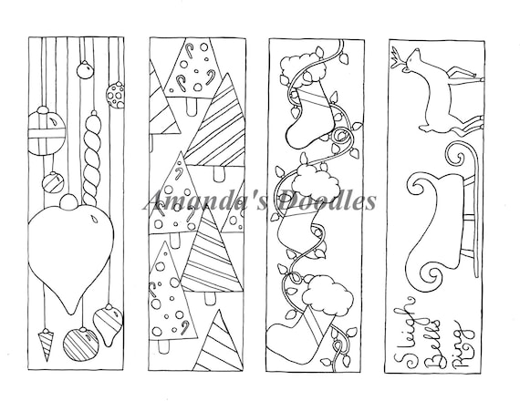 Pdf Download Christmas Bookmark Coloring Page Christmas Etsy