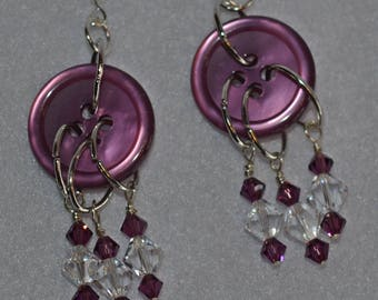 Vintage Style Button Earrings