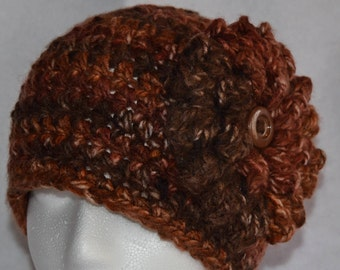 Women's Slouchy Hat with Flower, Hand Crocheted