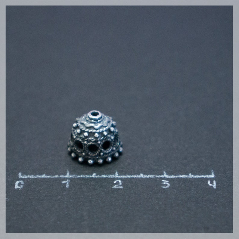 Sterling Silver Bead Caps 2 pcs Jewelry Making Supplies