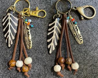 Arrowhead Keychain Tassel Keychain Bone Arrowhead Keychain Native American Keychain Tribal Keychain,Brown Bone Brown Arrowhead Keychain