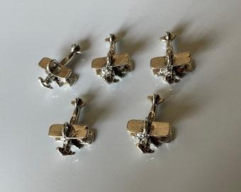 5 pcs of Antique Bronze 3D Biplane Plane Aircraft Pendants Charms 13x28x38mm A7097