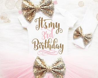 3rd Birthday Outfit Girl | 3rd Birthday Shirt Girl | Pink And Gold Birthday Outfit | 3rd Birthday Tutu Set | Girl 3rd Birthday Tutu Set