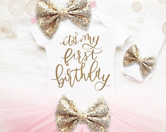 First Birthday Outfit Girl | It's My 1st Birthday Girl Outfit | Cake Smash Outfit | Pink And Gold 1st Birthday Tutu Set | Baby Girl Shirt