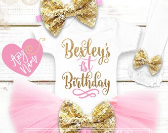 Personalized 1st Birthday Shirt | First Birthday Girl Birthday Outfit | 1st Birthday Tutu | Cake Smash Outfit | Pink Gold 1st Birthday