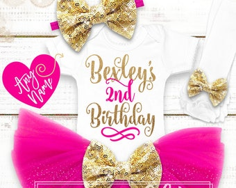 2nd Birthday Outfit Girl | 2nd Birthday Shirt | Gold Birthday Shirt | Glitter Birthday Shirt | Pink And Gold Outfit | Girl Birthday Shirt