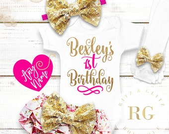 1st Birthday Girl Outfit | Floral Birthday Outfit | 1st Birthday Bloomer Set | Baby Girl Bloomers | Cake Smash Outfit | Birthday Bloomers