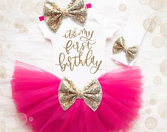 Baby Girl 1st Birthday Tutu Set | 1st Birthday Girl Outfit | Cake Smash Outfit | Gold Birthday Shirt Baby Girl Birthday Shirt | Pink Gold
