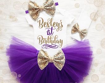 1st Birthday Girl Outfit | Purple And Gold 1st Birthday Girl Outfit | First Birthday Girl | Personalized Birthday Shirt | Birthday Tutu Set