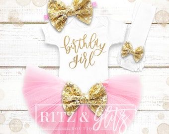 Birthday Outfit Baby Girl | Birthday Shirt Girl | 1st Birthday Outfit Baby Girl | 1st-8th Birthday Outfit | Pink And Gold Birthday Outfit