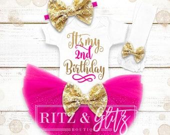 2nd Birthday Outfit Girl | 2nd Birthday Shirt | 2nd Birthday Outfit | Baby Girl Birthday Cake Smash Outfit | 2nd Birthday Tutu Set