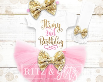 2nd Birthday Outfit Girl | 2nd Birthday Shirt Girl | Pink And Gold 2nd Birthday Outfit | 2nd Birthday Outfit | Second Birthday Shirt Girl
