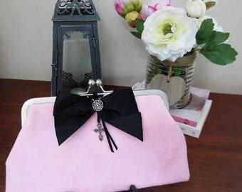 Pink Suede Clutch