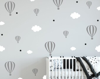 Wall stickers Hot air balloons, clouds and stars, vinyl kids room, wall decals, nursery wall decal