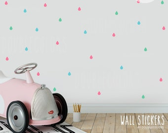 wall stickers raindrops, Colorful raindrops, wall decals color raindrops, stickers kids room, nursery decal