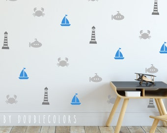 maritime wall decals. maritime decals, wall stickers,nursery decal, kids room wall stickers, boats decal, boats stickers