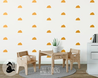 clouds wall decal, clouds pattern decal, wall stickers nuersery decal, clouds gold, clouds kids room, clouds vinyl decals.