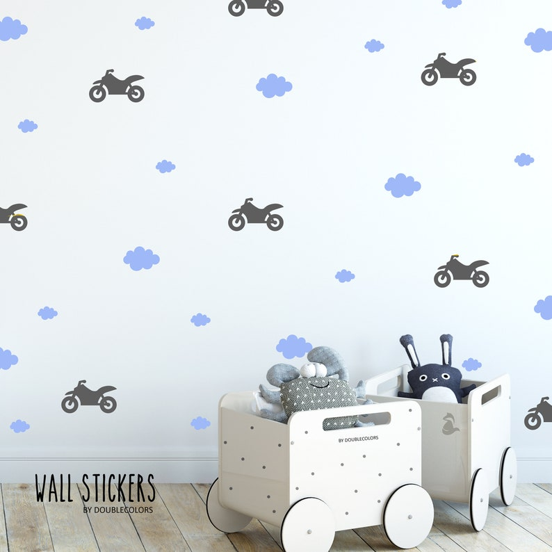 Les motos wall sticker sticker nuages sticker mural chambre | Etsy