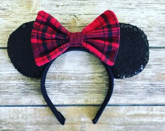 Sequins and Plaid Disney Ears