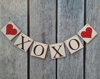 Valentines banner, XOXO banner, valentines photo prop, valentines day decorations, love banner, valentines day sign, valentines day wedding