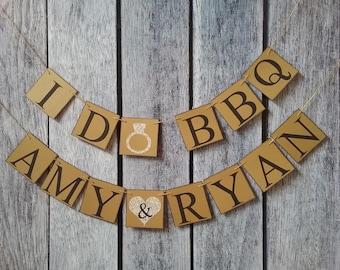 I do bbq banner, wedding couples names, I do bbq couples shower, custom engagement banner, custom wedding banner, wedding bbq decorations