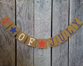 4th of July banner, happy 4th of July banner, fourth of July sign, patriotic banner, red white and blue banner, 4th of July decor, July 4th