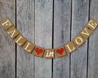 FALL IN LOVE banner, fall wedding ideas, fall wedding banner, wedding decorations, wedding banner, fall banner, fall wedding decor