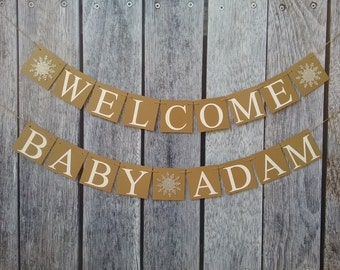 Welcome baby banner, welcome baby name banner, winter baby shower,baby shower banner, custom baby shower banner, welcome baby sign