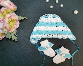 crochet baby beanie +socks, baby bonnet, hood