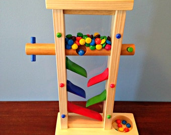 Handcrafted Wooden Candy Dispenser with Removable Glass Panel