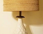 Stiffel Hollywood Regency Ivory Ceramic And Decorative Brass Pineapple Design Table Lamp