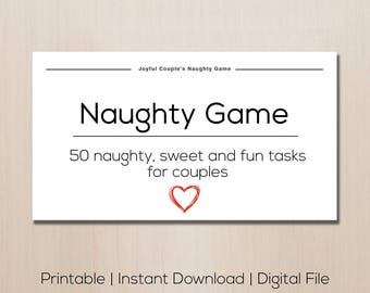 Printable Naughty Game Gift For Boyfriend Anniversary Couples Sex Sexy