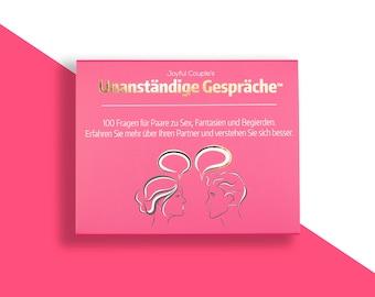 Unanständige Gespräche (Deutsch), Spiel für Paare, 100 Fragen Liebesspiel, Geschenk zur Hochzeit, Jubiläum, für Mann, Frau, Liebeskarten