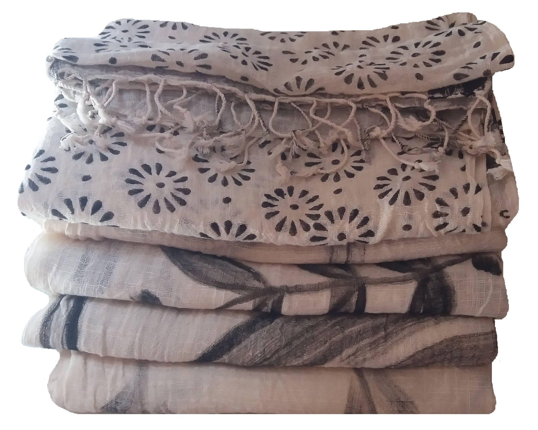 5 pièces assorties, lot de de lot brosse imprimé foulard, foulard en coton, 69a17859898