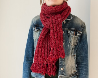 c07f7a6bf red knit scarf, red women scarf, red knitted long scarf, red chunky scarf,  red winter scarf, long red knit womens scarf, red wool scarf