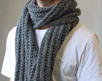 Gray wool scarf, mens grey scarf, men winter scarf, grey wool winter scarf, 100% hand knit scarf, perfect gift for him, chunky knit scarves