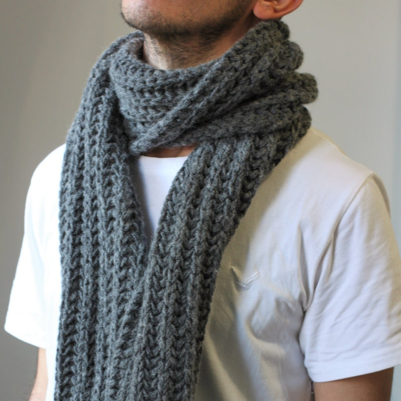 a282c2d07115d Gray wool scarf mens grey scarf men winter scarf grey wool image 0 ...
