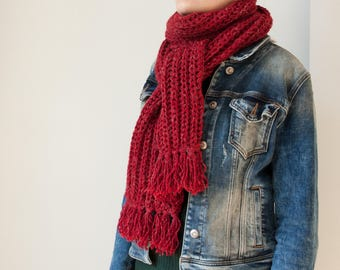 red knit scarf, red women scarf, red knitted long scarf, red chunky scarf, red winter scarf, long red knit womens scarf, red wool scarf