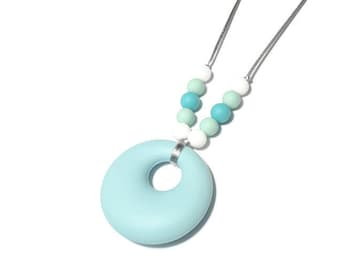 Mint Silicone Necklace (was Teething Necklace) Turquoise White Round Pendant Jewellery For Mum BPA Free