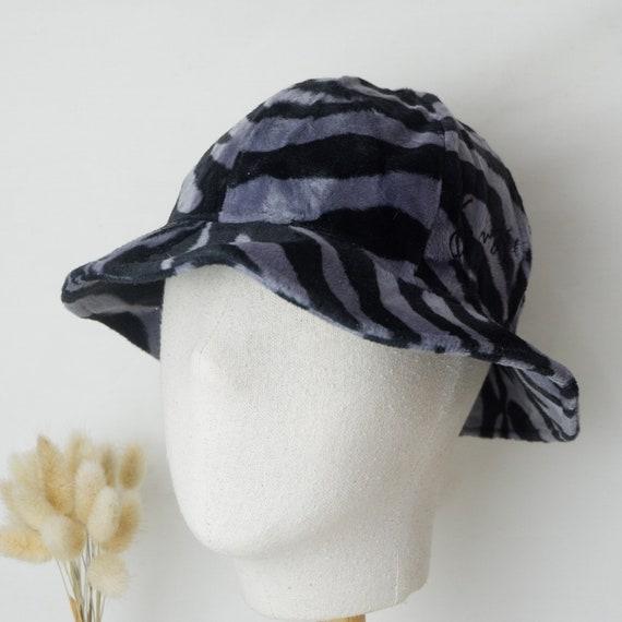 Vintage Kenzo fluffy zebra stripe print bucket hat