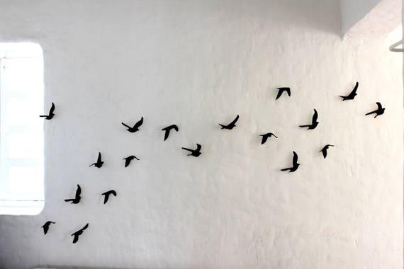 Black Birds Sticky Tape Pack Of 14 Metal Wall Art Etsy