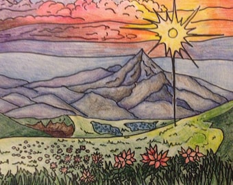 Sunset Mountains Coloring Page