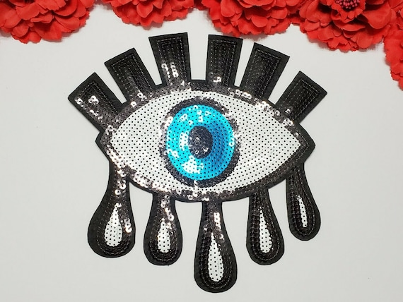 Eye patch, Fashion patch, Large patch, Sequin patch, Iron on