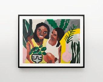 Art Print| Sisterhood | Home Decor | Wall Art  | Girls Painting Poster