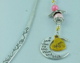Handmade, Bookmark, I love you to the moon and back, Mom pendant, guardian angel pendant, silver colored, bookmark with beads,